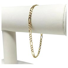 14k Yellow Gold 3.5mm Diamond Cut Figaro Link Chain Bracelet Italy 7.5""