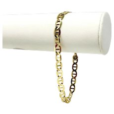 "14k Yellow Gold Men's 6.5mm Flat Gucci Anchor Mariner Link Chain Bracelet 9"""