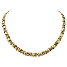 """14k Yellow Gold Heavy 24g Ladies XO Hearts and Kisses Link Chain Necklace 18"""""""