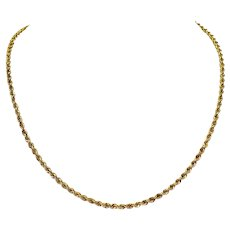 """14k Yellow Gold 3mm Hollow Diamond Cut Rope Chain Necklace 18.5"""""""