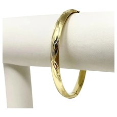 14k Yellow Gold Ladies Satin and Polished Finished Bangle Bracelet 7""