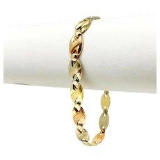 "18k Yellow White Rose Gold Tri Tone Fancy Link Ladies Bracelet Italy 7.5"""