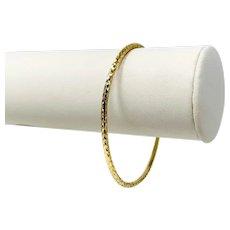 "14k Yellow Gold Thin Beveled Diamond Cut Bangle Bracelet Italy 7.5"""