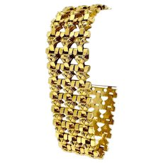 18k Italian Yellow Gold Vintage Fancy 25mm Wide Ladies Bracelet 8""