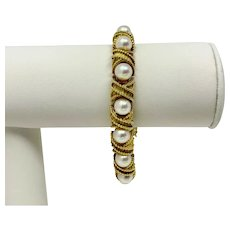 """Hammerman Brothers 18k Gold Pearl Ladies Vintage X Link Bracelet 7"""""""