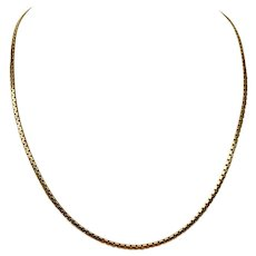 14k Italian Yellow Gold 2.5mm Flat Box Link Chain Necklace Italy 20""
