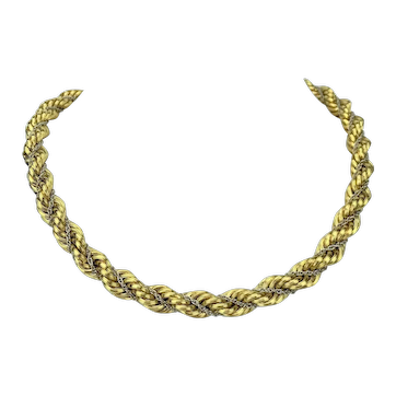 18k Yellow Gold 62.2g Ladies Thick Fancy 9.5mm Rope Chain Necklace Italy 16.5""