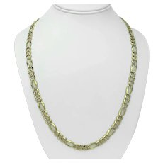 """14k Yellow White Gold Two Tone 31g Diamond Cut Figaro Link Chain Necklace 24"""""""