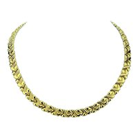 Chimento 18k Yellow White Gold Reversible Ladies Fancy Link Necklace Italy 18""
