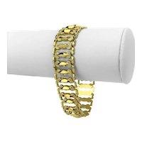 "14k Italian Yellow Gold 17.5g Aurafin Ladies Fancy Link Bracelet Italy 7.25"""