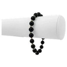 "14k Yellow Gold and 8mm Onyx Ball Bead Bracelet 7.5"""