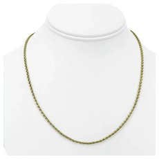 """14k Yellow Gold 9g Ladies 2mm Spiga Wheat Link Chain Necklace 18"""""""
