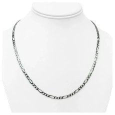 """14k White Gold 3.5mm Figaro Link Chain Necklace 20"""""""