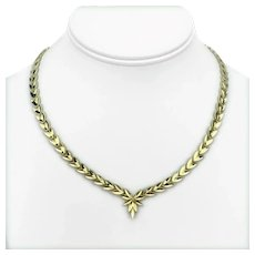 "14k Yellow Gold Ladies Diamond Cut Fancy Drop Link Necklace 17"""