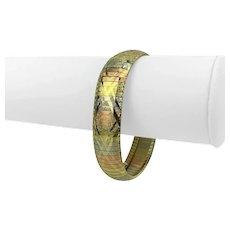 "14k Yellow White Rose Gold 26.3g Etched Diamond Cut Omega Link Bracelet Italy 7"""