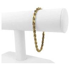 "14k Yellow Gold 17.2g Heavy Solid 4.5mm Diamond Cut Rope Bracelet Italy 8"""