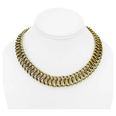 """18k Yellow Gold 75g Fancy Spiral Oval Link Chain Necklace Italy 17"""""""