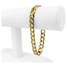 """14k Yellow Gold 26g Solid Heavy 9mm Curb Link Chain Bracelet Italy 8.5"""""""