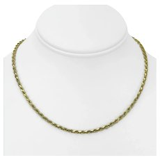 """14k Yellow Gold 14.8g Solid Diamond Cut 3mm Rope Chain Necklace Italy 16"""""""