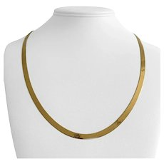 Milor 14k Yellow Gold 10.8g Thin 4.5mm Herringbone Link Necklace Italy 22""