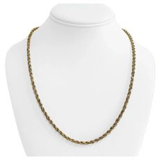 """14k Yellow Gold 24.4g Solid Heavy 3.5mm Diamond Cut Rope Chain Necklace 21"""""""