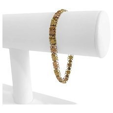 "10k Yellow and Rose Gold Two Tone Ladies Diamond Cut Fancy Bracelet 7"""