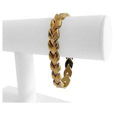 "14k Yellow Gold 20.3g Ladies 11mm Fancy V Link Bracelet Italy 7.25"""