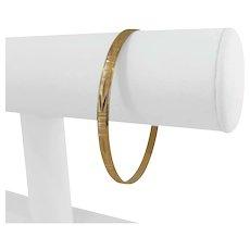 "18k Yellow Gold 9.8g Diamond Cut UnoAErre 4.5mm Bangle Bracelet Italy 8"""