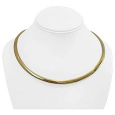 """14k Yellow Gold 41.7g Heavy Domed 6mm Omega Link Necklace Italy 18"""""""
