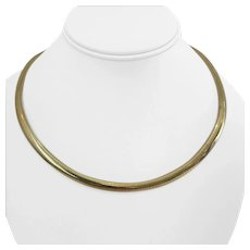 """14k Yellow Gold 43g Heavy Domed 6mm Omega Link Necklace Italy 18"""""""