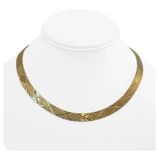 """14k Yellow Gold 40.6g Heavy Solid Diamond Cut Brick Link Necklace Italy 16"""""""