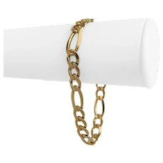 """14k Yellow Gold 21g Semi Solid 8.5mm Figaro Link Bracelet Italy 8.25"""""""