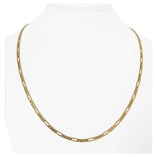 14k Yellow Gold 8.9g Solid 3mm Figaro Link Chain Necklace Italy 22""