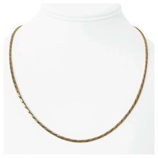 14k Yellow Gold 12.5g Solid 2mm Flattened Rope Chain Necklace Italy 19""