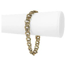 "14k Yellow Gold 25g Heavy 9mm Double Circle Link Charm Bracelet 7.75"""