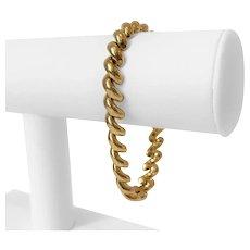 """14k Yellow Gold 12.2g Ladies 8mm Macaroni San Marco Link Bracelet 7.5"""""""