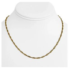 22k Yellow Gold Ladies Thin 2mm Twisted Curb Link Chain Necklace 16""