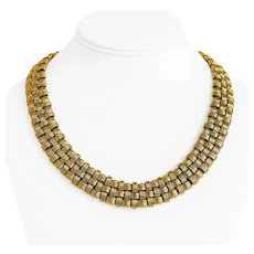 """14k Yellow Gold 91.6g Heavy Ladies Textured Basket Weave Necklace Italy 19"""""""