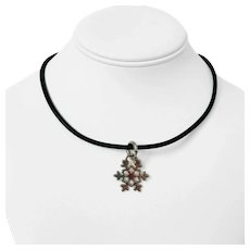 Tiffany & Co. Sterling Silver Snowflake Pendant on Black Rubber Necklace 16""