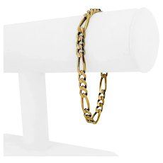 """14k Yellow Gold 14.9g Solid 6mm Figaro Link Bracelet Italy 7.75"""""""