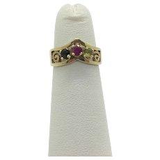 10k Yellow Gold Pink Sapphire Peridot and Tourmaline Ring Size 3