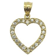 14k Yellow Gold and Cubic Zirconia CZ Heart Shaped Pendant Charm