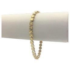 14k Yellow Gold Unique Circle Link Diamond Cut Bracelet 7.5 Inches