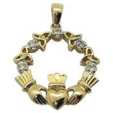 14k Yellow Gold and .1ct Diamonds Solvar Brand Irish Claddagh Pendant
