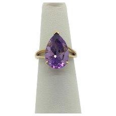10k Yellow Gold 6.2ct Pear Cut Purple Amethyst Ring Size 6