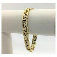 14k Yellow Gold Greek Key Link Chain Bracelet Diamond Cut Italy 7.5 Inches