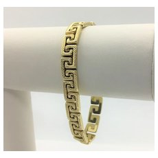 14k Yellow Gold Greek Key Link Chain Bracelet Diamond Cut Italy 7.5 Inches
