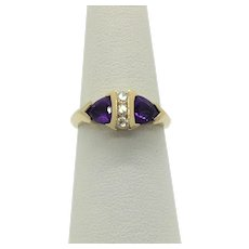 14k Yellow Gold Diamond and Trillion Cut Amethyst Ring Size 6