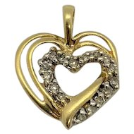10k Yellow Gold and .17ctw Diamond Interlocking Heart Shaped Pendant