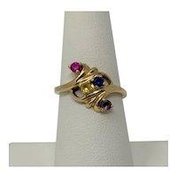 10k Yellow Gold Multi Stone Ring Pink Sapphire Topaz Size 7
